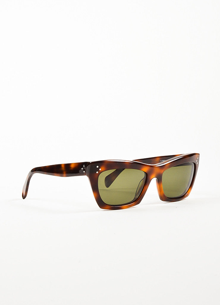 "Celine Brown and Black Tortoise Frame ""Traveller"" Cateye Sunglasses Sideview"
