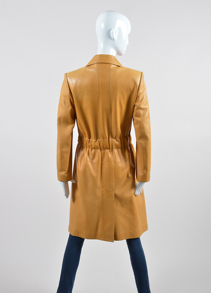 Mustard Yellow Chanel Lambskin Leather Silk Lined Long Belted Jacket  Backview