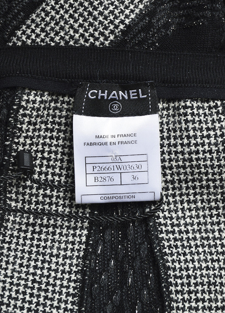 Black and White Chanel Wool Blend Houndstooth Metallic Stripe Skirt Brand