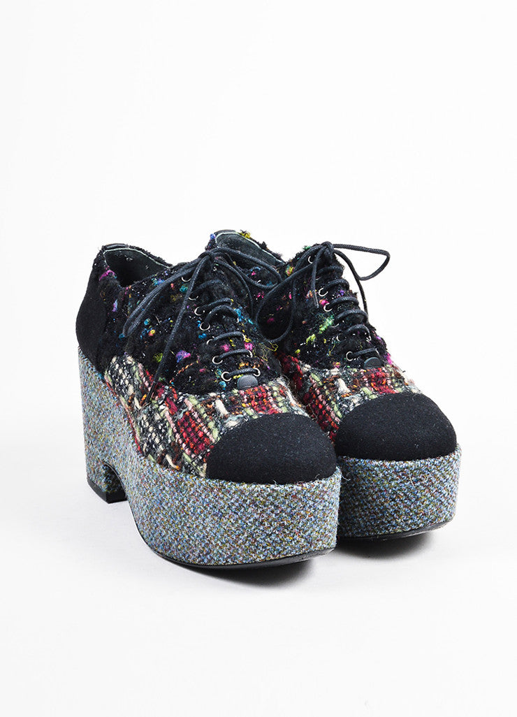 Chanel Black and Multicolor Tweed and Boucle Lace Up Platform Shoes Frontview