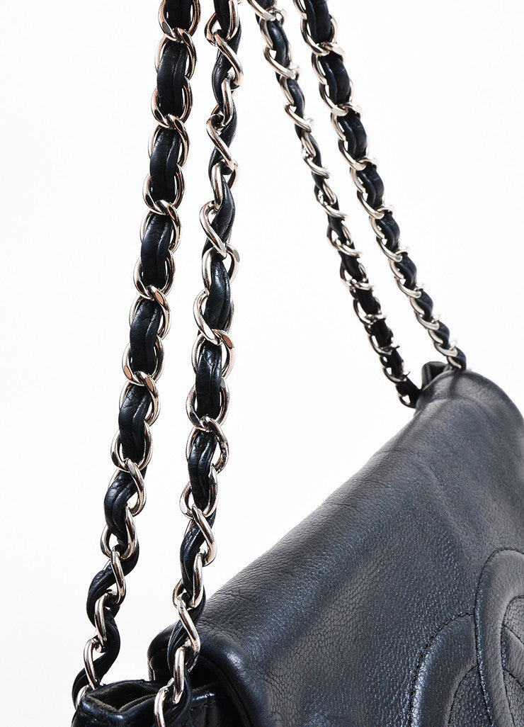 "Chanel Black Caviar Leather Interwoven Chain Quilted ""Half Moon"" Flap Bag Detail 2"