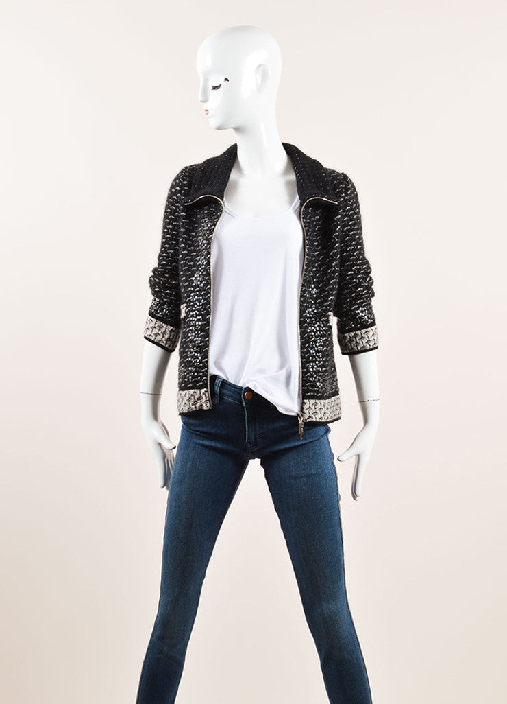 Chanel Black and Grey Mohair, Silk, and Cashmere Embellished Tweed Sweater Jacket Frontview