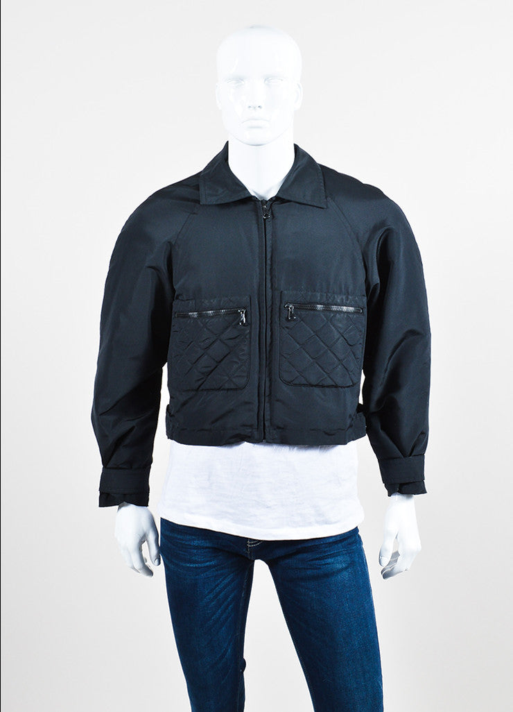 Men's Black Chanel Nylon Quilted Cropped Bomber Jacket Front 2