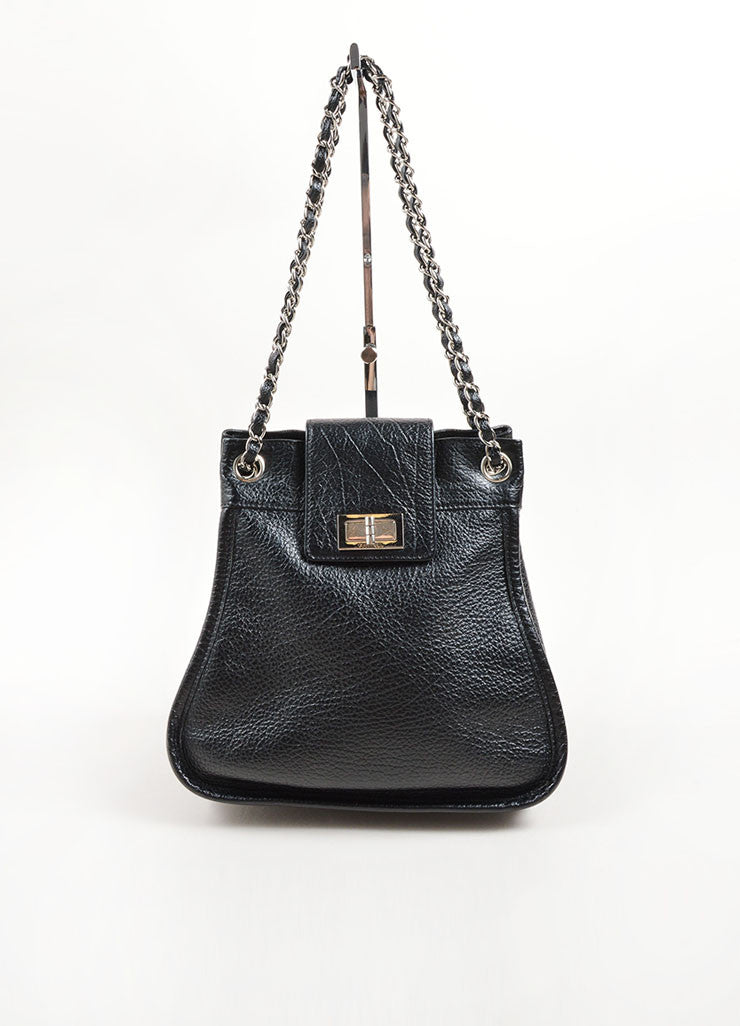 Chanel Black and Silver Toned Grained Leather Chain Strap Mademoiselle Shoulder Bag Frontview