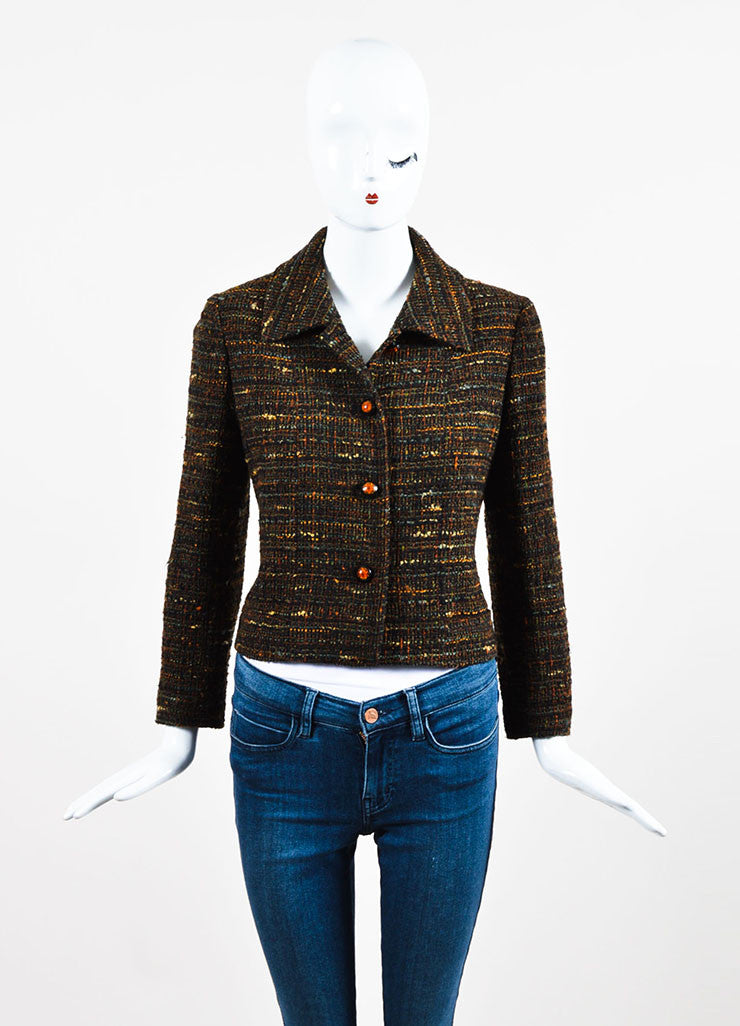 Chanel Brown Wool Tweed Clear Flower Button Jacket Frontview 2