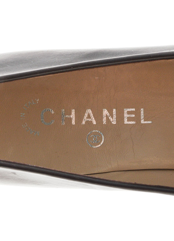 "Brown Leather Chanel ""CC"" Logo Squared Toe Slip On Loafers Brand"