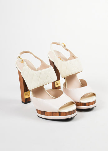 Pink, White, and Brown Chanel Leather and Wood Quilted Peep Toe Slingback Pumps Frontview