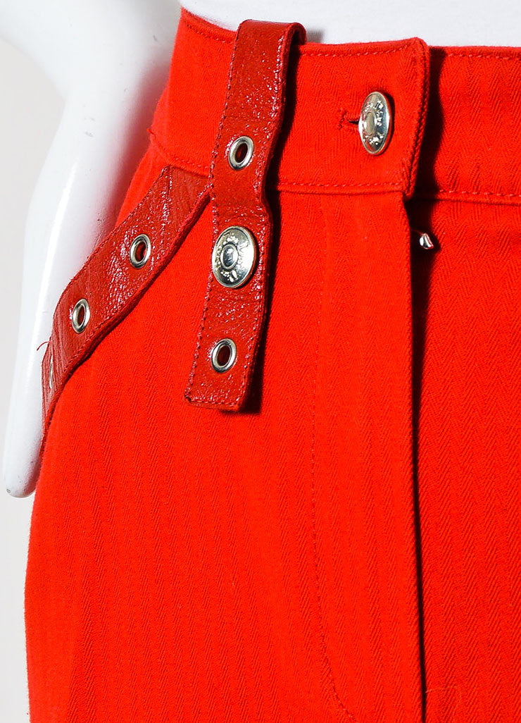 Red Christian Dior Cotton Leather Straps Mini Skirt Detail