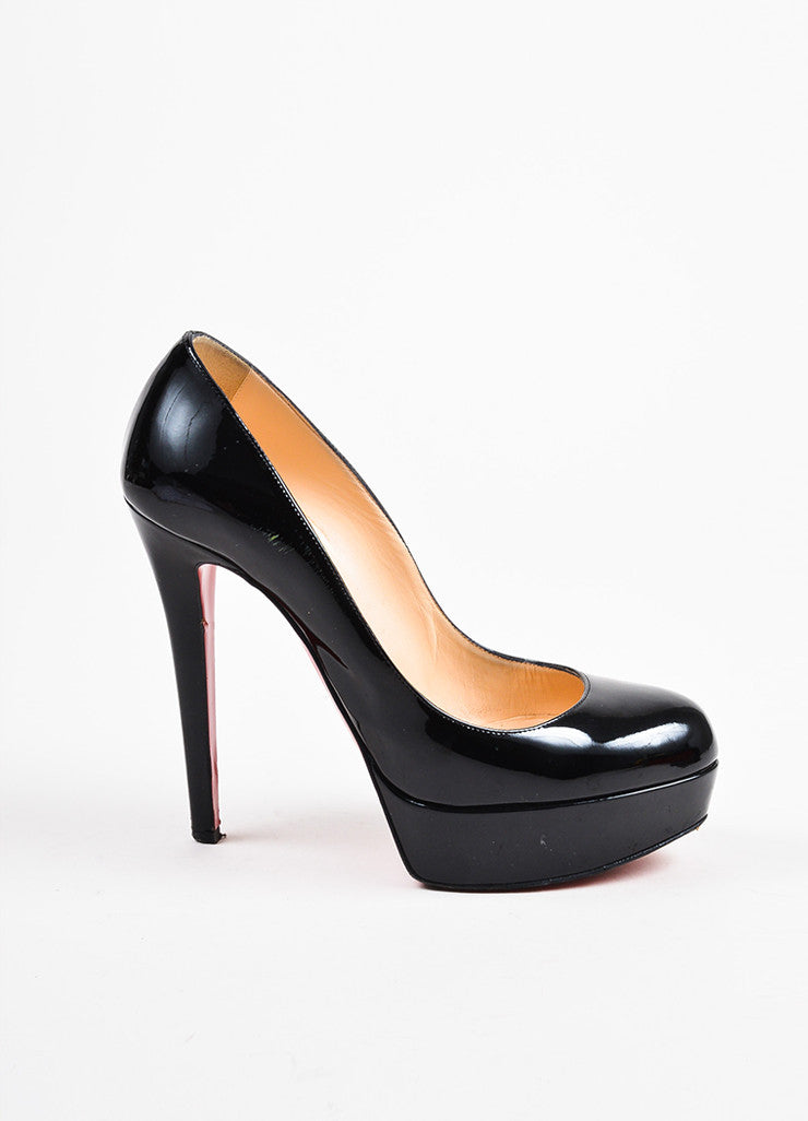 "Christian Louboutin Black Patent Leather ""Bianca"" Platform Pumps Sideview"