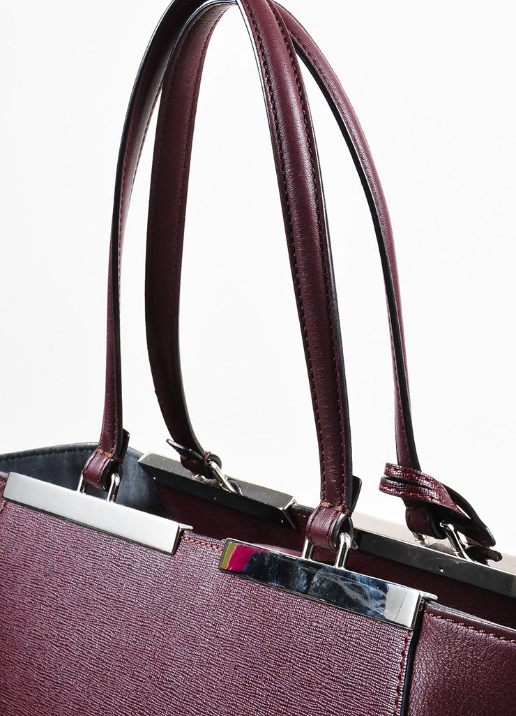 "Fendi Maroon Textured Leather Top Handle ""3 Jours"" Medium Trapeze Tote Bag Detail 2"