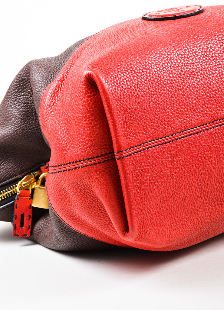 "Fendi Black, Brown, and Red Tricolor Leather Double Strap ""Selleria 2"" Handbag Detail"