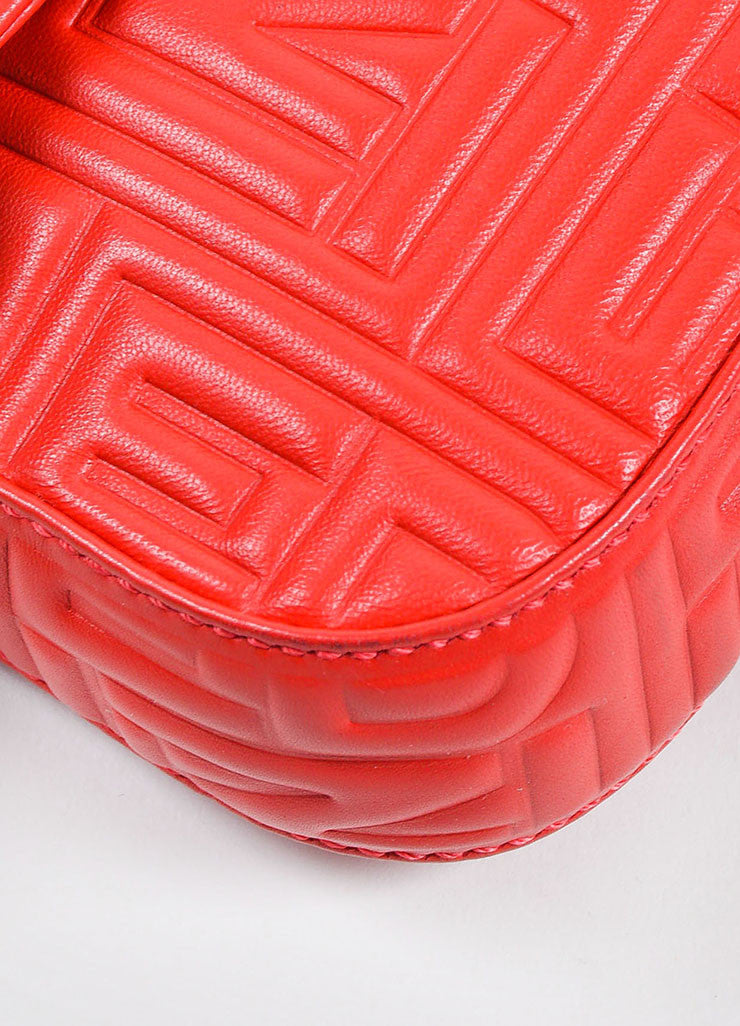 Red Fendi Leather Embossed Baguette Bag Detail