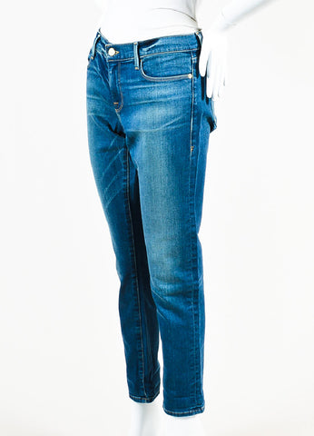 "Frame Denim Blue Denim Faded ""Le Garcon"" Skinny Jeans Sideview"