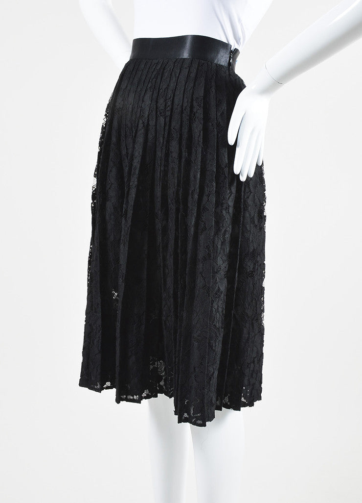 Black Givenchy Floral Lace Satin Trim Pleated Midi Skirt Sideview