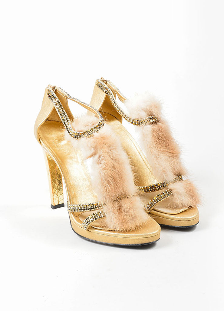 Gucci Metallic Gold Leather Mink Fur Embellished T-Strap Heel Sandals  Frontview