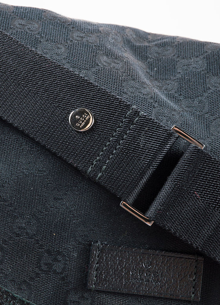 Gucci Black Canvas and Leather Monogram 'GG' Logo Diaper Shoulder Bag Detail