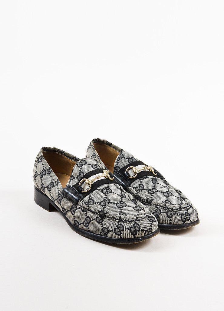 Gucci Black and Grey Monogram 'GG' Canvas Silver Horsebit Buckle Loafers Frontview
