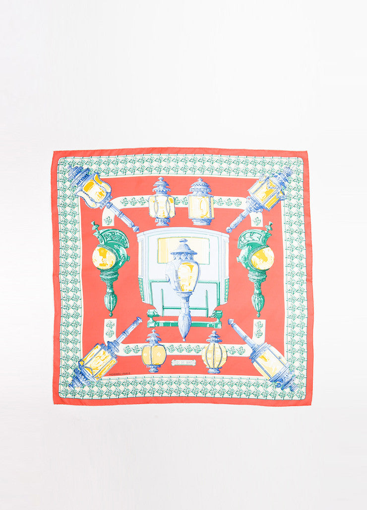 "Hermes Coral and Multicolor Silk ""Feux de Route"" Lamp Print 90cm Square Scarf Frontview 2"