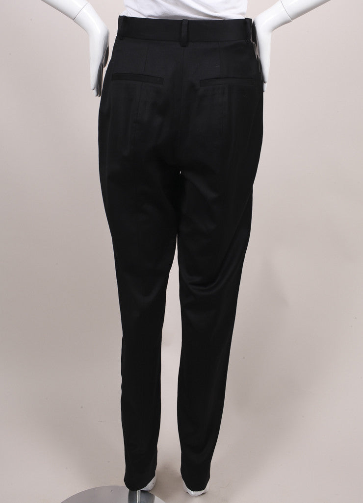 Jason Wu New With Tags Black High Waisted Wool and Satin Tuxedo Trousers Backview