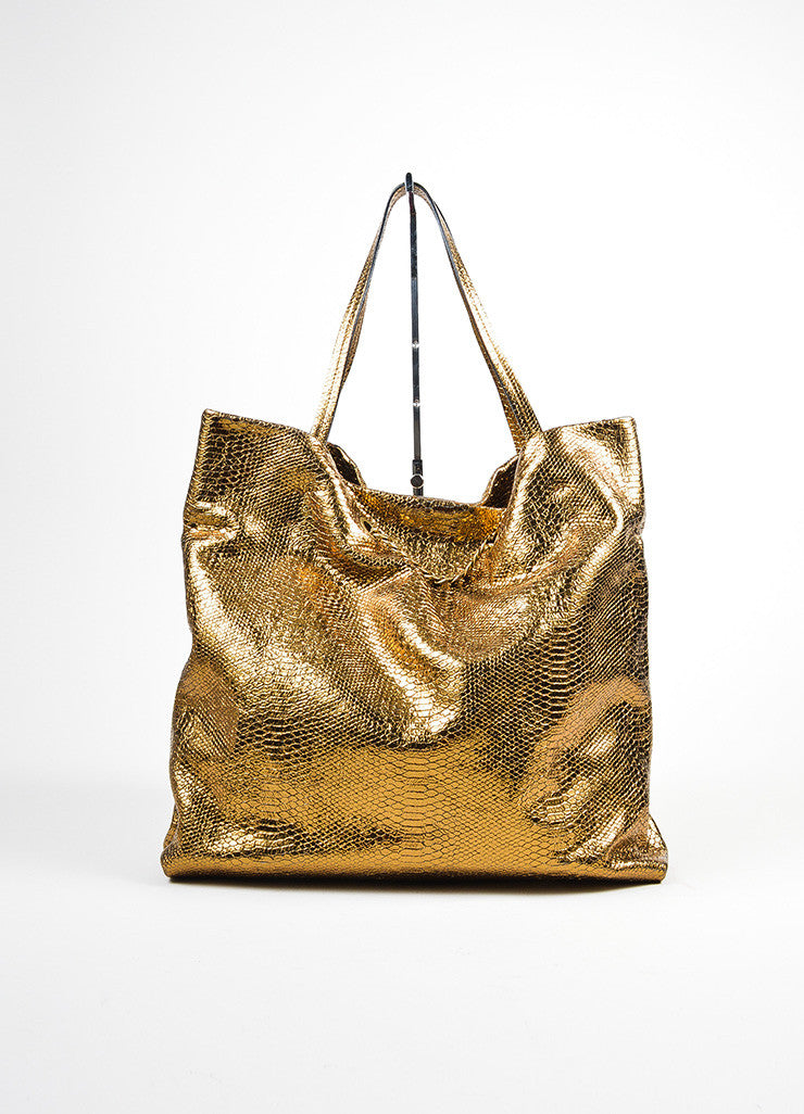 "Metallic Gold Lanvin Leather Python Embossed North South ""Carry Me"" Tote Bag Frontview"