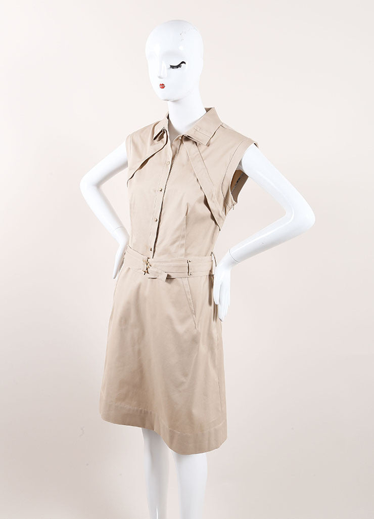 Lela Rose New With Tags Tan Khaki Pleated Belted Sleeveless Dress Sideview
