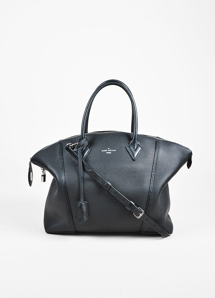 "Louis Vuitton ""Noir"" Black Taurillon Pebbled Leather ""Lockit MM"" Tote Bag Frontview"
