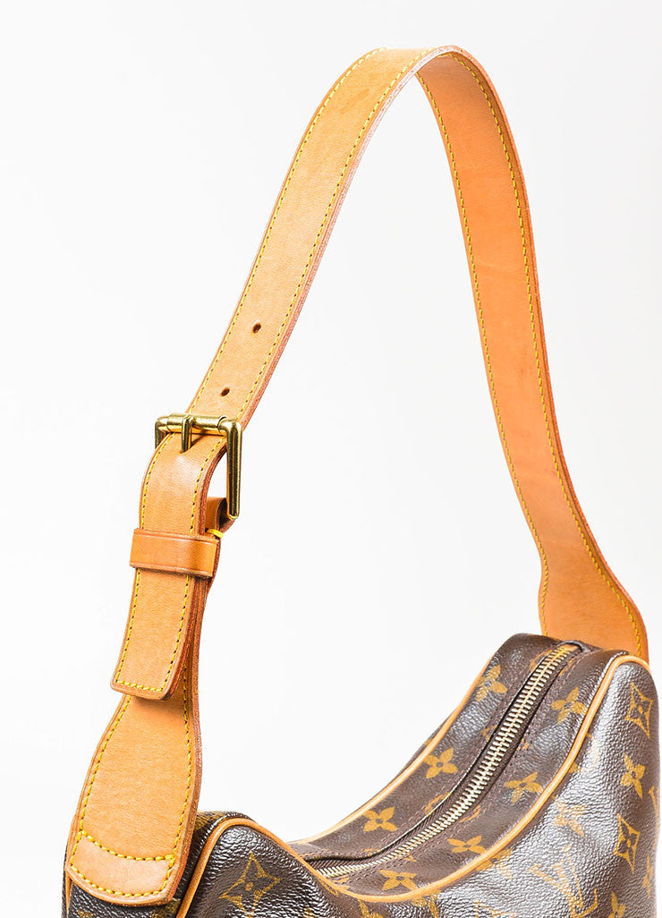 "Louis Vuitton Brown and Tan Coated Canvas Monogram ""Croissant MM"" Shoulder Bag Detail 2"