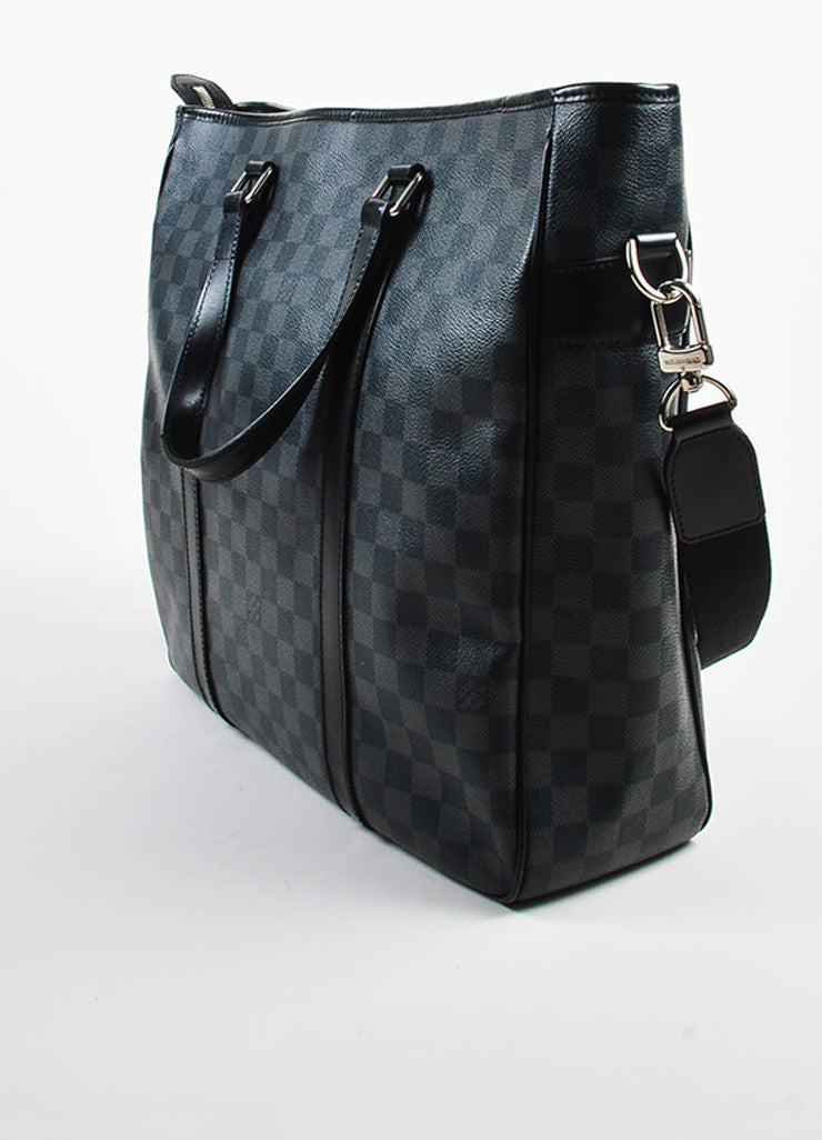 "Grey Louis Vuitton ""Graphite Damier"" Coated Canvas ""Tadao"" Bag Back"
