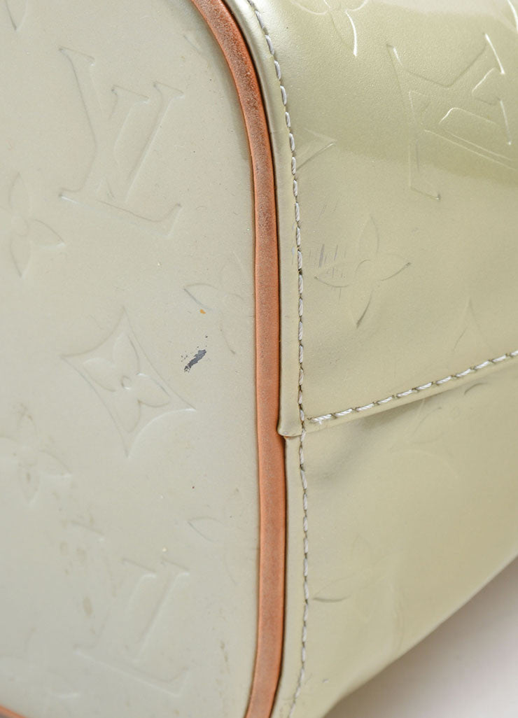 Louis Vuitton Pale Green Patent Leather Monogram Tote Detail 3