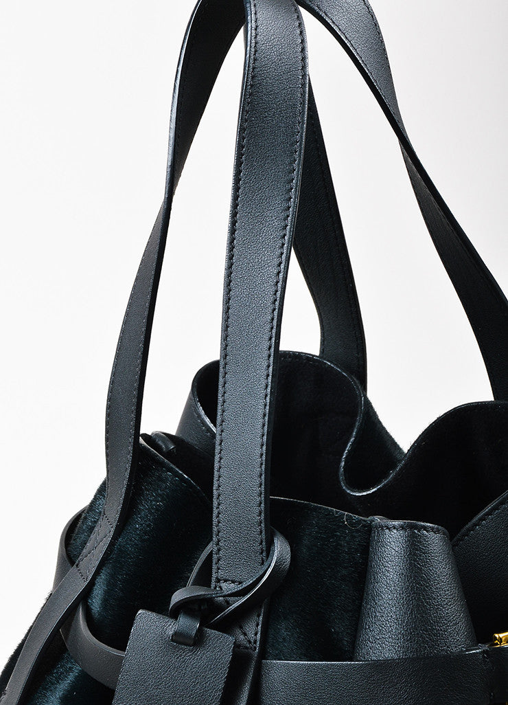 Black and Dark Green Marni Leather and Pony Hair Paneled Shoulder Bucket Bag Detail 2