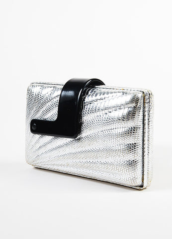 Emilio Pucci Silver Embossed Leather Black Plastic Strap Turn Lock Clutch Bag Sideview