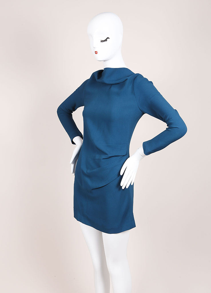Roland Mouret Teal Pleated High Collar Long Sleeve Dress Sideview