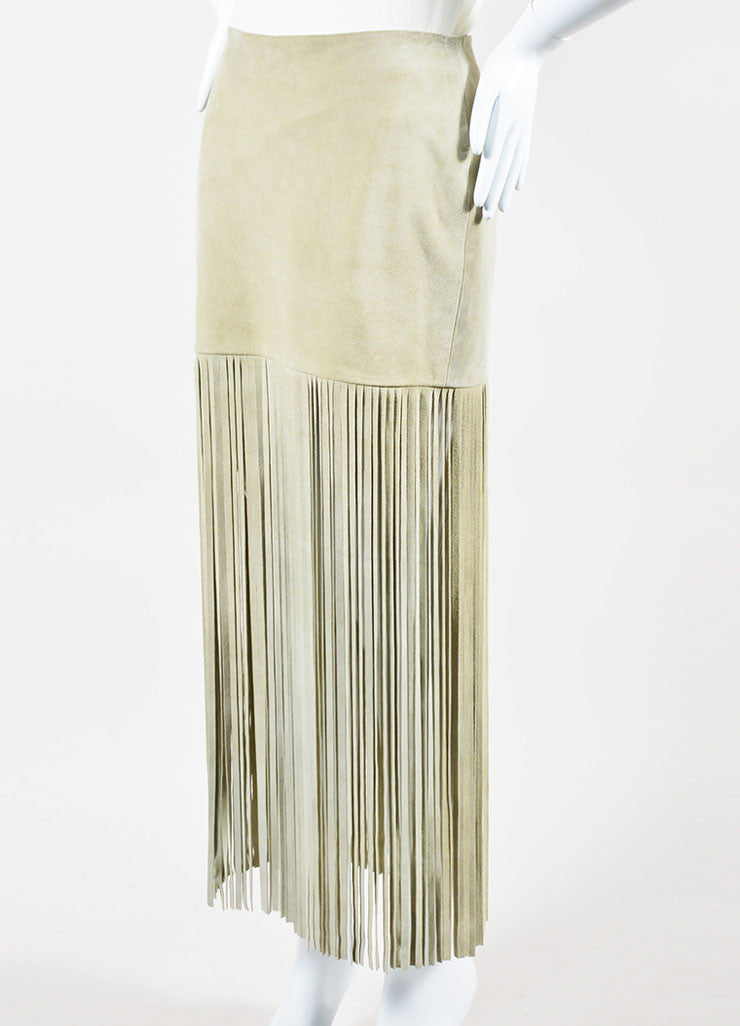 "Sand Beige The Perfext Suede Leather ""Mimi 24"" Fringe Midi Skirt Sideview"