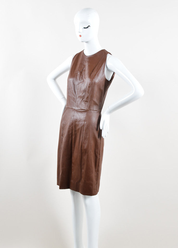 The Row Brown Leather Sleeveless Sheath Dress Side