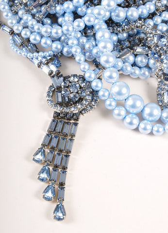 Tom Binns Blue and Gunmetal Pearl and Rhinestone Contrast Twist Chain Drop Necklace Detail