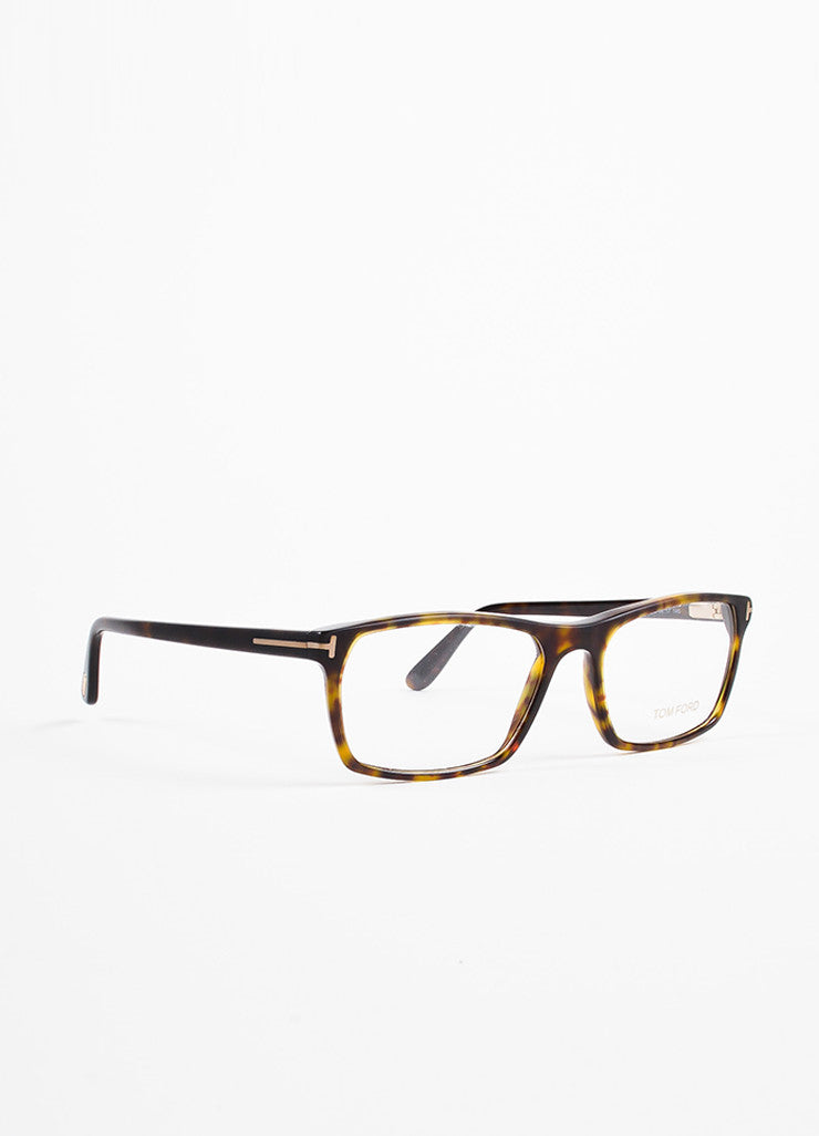Tom Ford Black, Brown, and Yellow Square Frame Optical Eyeglasses Sideview