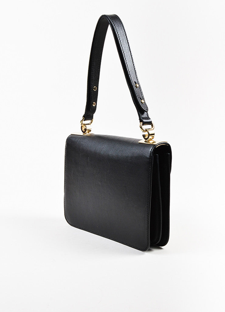 "Gucci Black Leather ""1973 Small Top Handle"" Shoulder Bag Sideview"