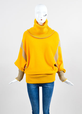 Mustard Yellow and Tan Issey Miyake Chunky Turtleneck Sweater Frontview
