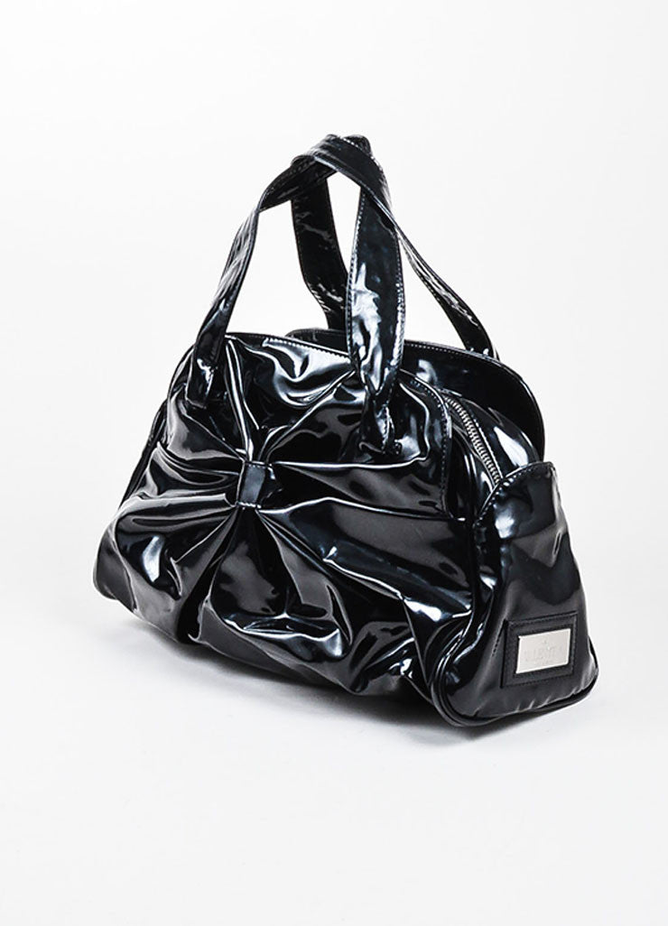 Black Valentino Patent Leather Bow Ruched Handbag Bowler Satchel Bag Sideview