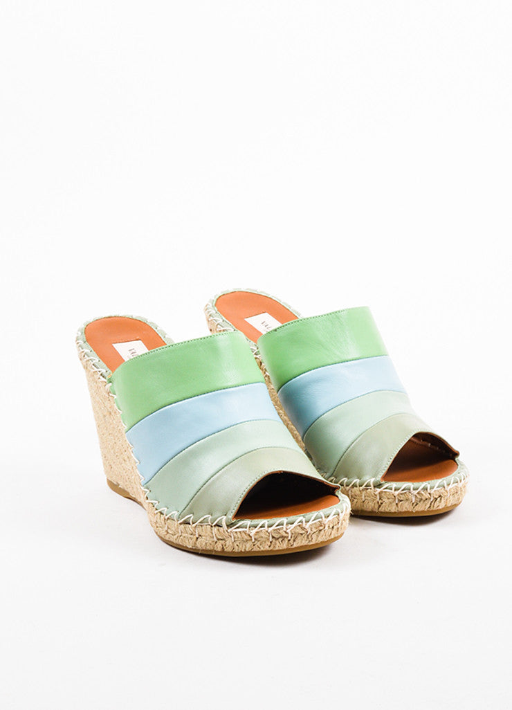 Valentino Green and Blue Leather Striped Espadrille Wedge Sandals Frontview