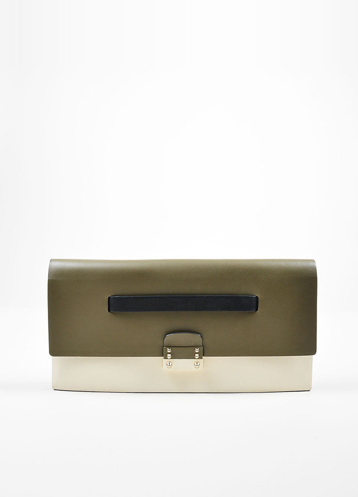 Green, White, and Black Color Block Valentino Leather Rectangle Clutch Frontview
