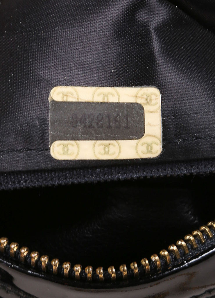 Chanel Black Velvet Quilted Patent Grim Gold Toned Chain Bag Serial