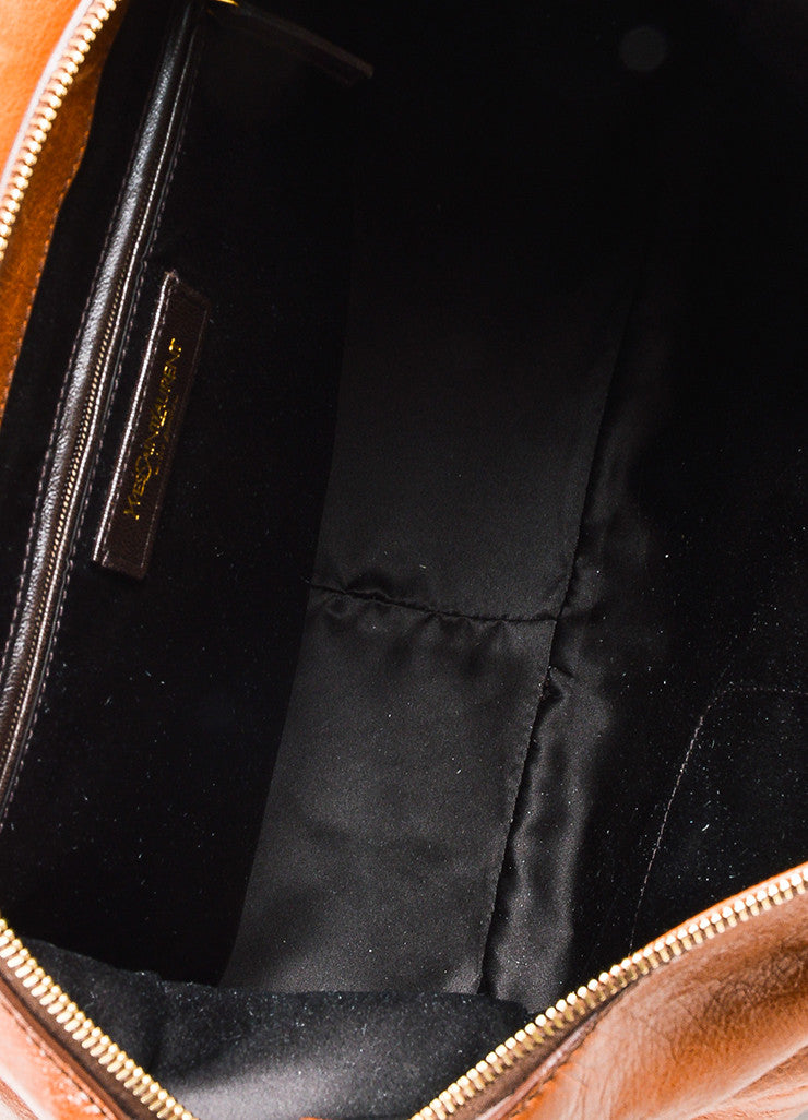 "Cognac Brown Yves Saint Laurent Glossy Leather ""Muse Messenger"" Bag Detail 4"