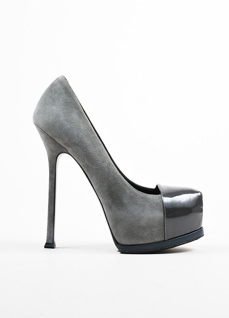 "Grey Yves Saint Laurent Suede Cap Toe ""TribToo"" Platform Pumps Side"
