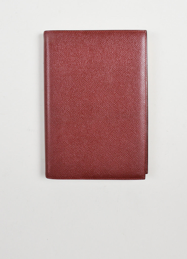"Burgundy Red Hermes Large ""Globetrotter"" Leather Agenda Planner Address Book Frontview"