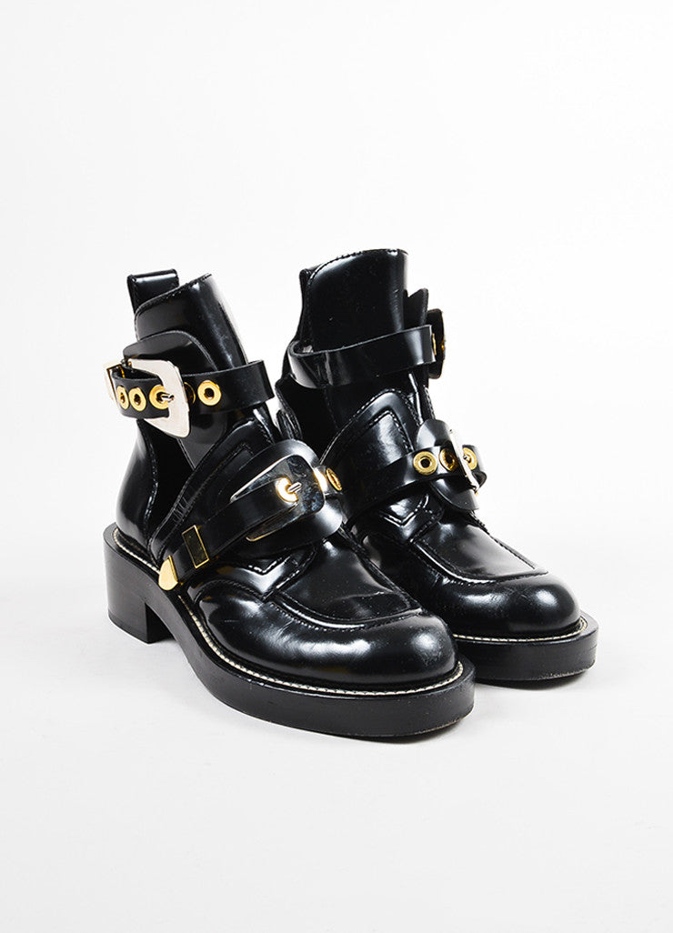 "Balenciaga Black Leather Dual Buckle and Cutout ""Ceinture"" Boots Frontview"