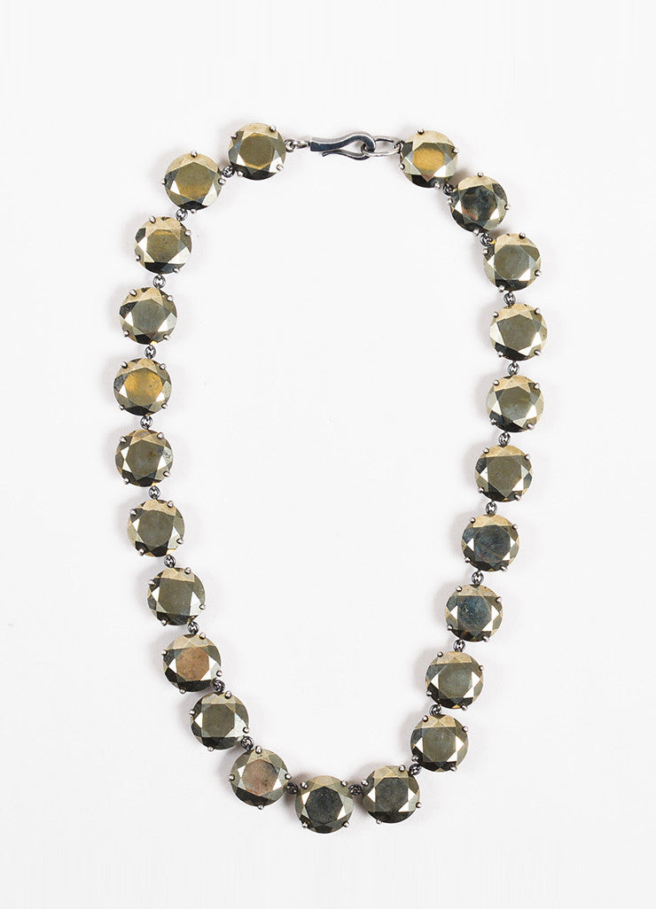 Bottega Veneta Bronze Sterling Silver Round Crystal Embellished Necklace Frontview