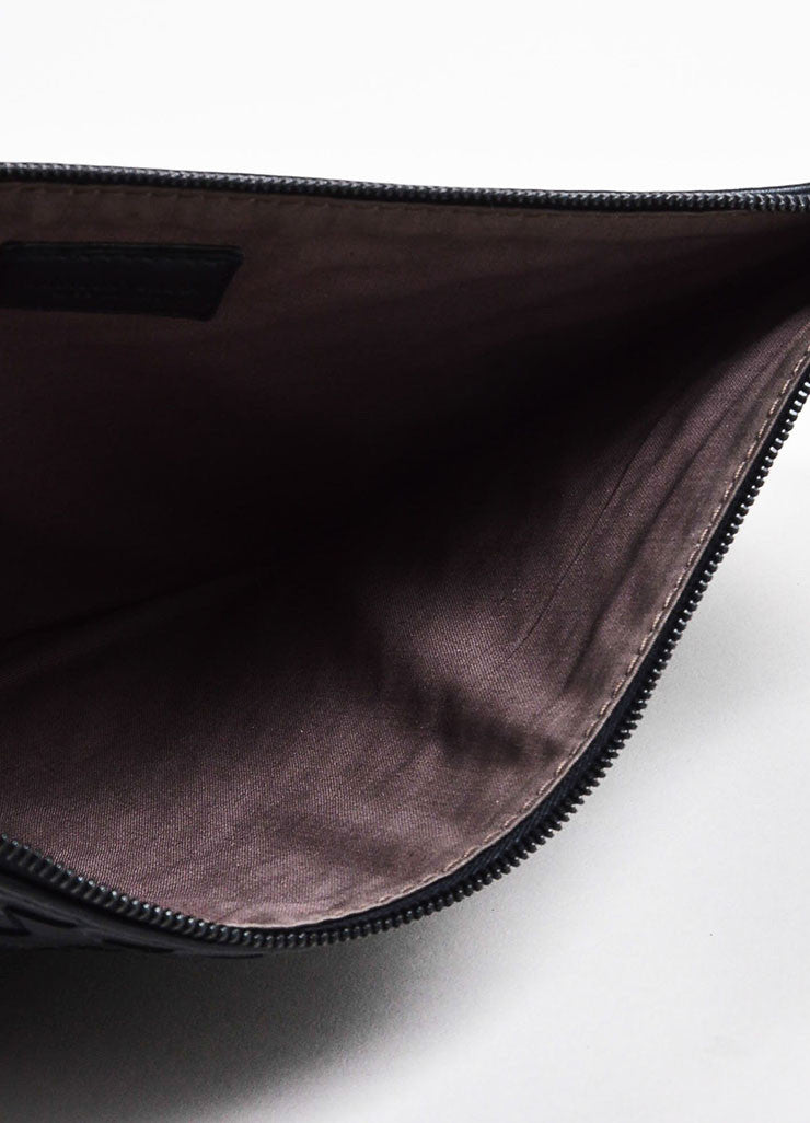 "Bottega Veneta Matte and Metallic Black ""Intrecciato"" Nappa Leather Zipped Pouch Bag Interior"