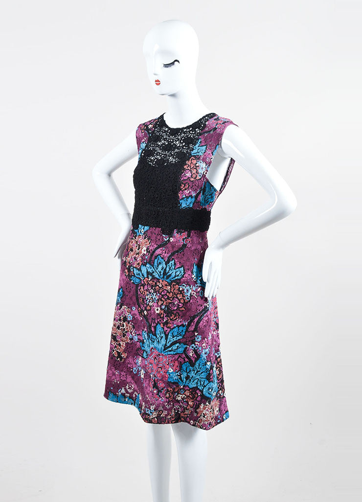 Purple Burberry Prorsum Floral Italian Lace Inset Shift Dress Sideview