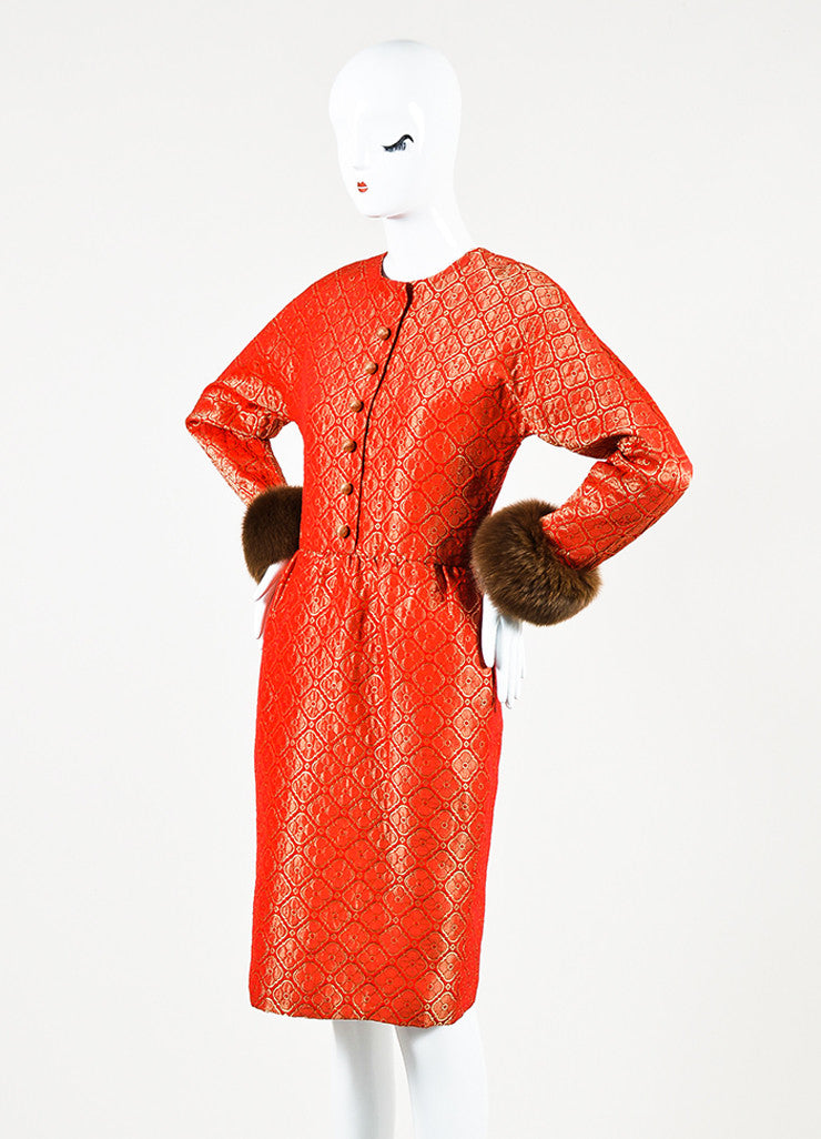 Carolina Herrera Red & Metallic Gold Fur Trim Floral Jacquard Dress Front